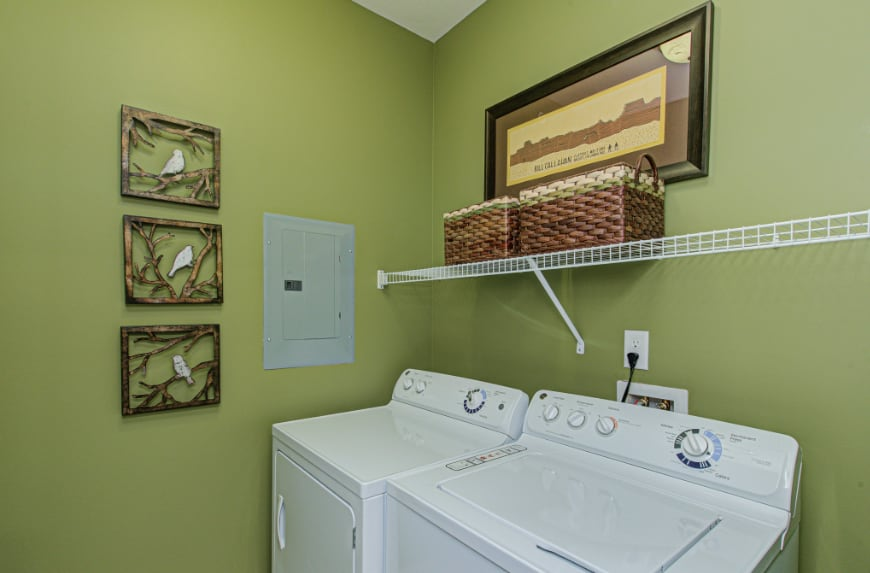 Laundry room in a Carmel townhome.